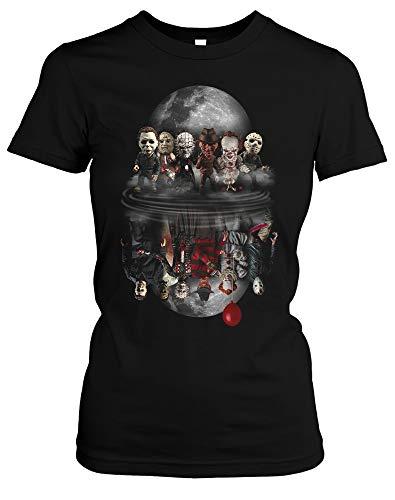 Evil Six Damen Girlie T-Shirt | Horror Halloween Nightmare Freddy Michael Myers Jason Clown Friends (M)