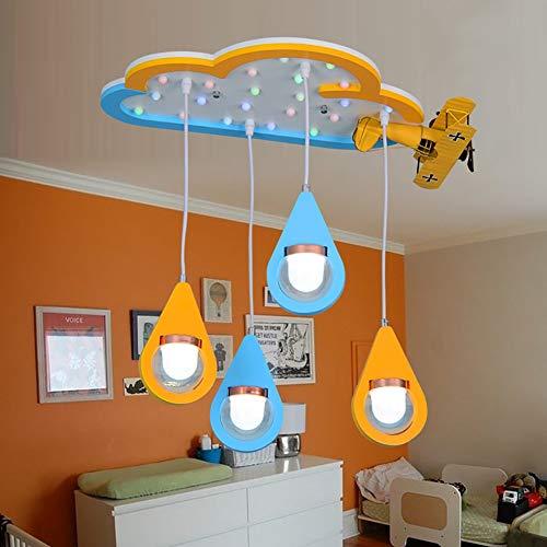 LXSEHN LED Creative Simplicité Art Du Bois Nuage Avion Plafonnier, La Chambre Des Enfants Jardin D'enfants Art Les Gouttelettes D'eau Lustre Lampe d'éclairage de plafonnier Lanternes