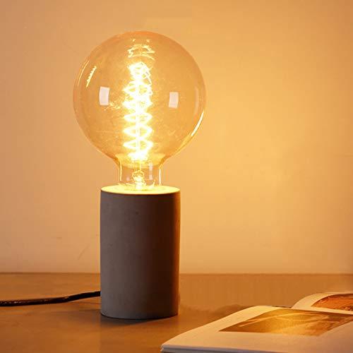 Anjur Portalámparas de Hormigón E26 / E27, Base de Lámpara Vintage con Interruptor de Encendido/Apagado de Cable para Lámpara Edison, Fuegos Artificiales LED, Sin Bombilla