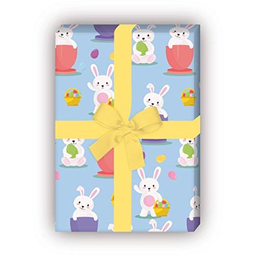Kartenkaufrausch 4 Bögen - Süßes Oster Geschenkpapier Set mit lustigen Häschen als edle Geschenk Verpackung, Musterpapier, Dekorpapier zum basteln 32 x 48cm, auf hellblau