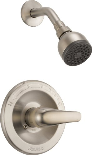 Peerless Single-Handle Shower Faucet Trim Kit with Single-Spray Touch-Clean Shower Head, Brushed Nickel PTT188743-BN (Valve Not Included)
