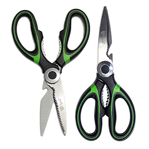 Orgalif Kitchen Shears - Multifunctional Stainless Steel Heavy Duty Scissors for Cutting Poultry Herbs Meat Fish & Food with Bottle Opener (Set of 2) Green