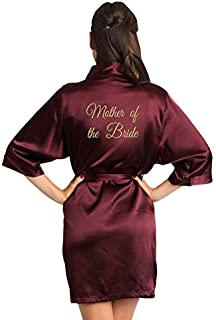 Zynotti Women's Old Gold Embroidered Mother of The Bride Getting Ready Bridal Party Party Kimono Wedding Plus Size Wine Burgundy Maroon Satin Robe - L/XL
