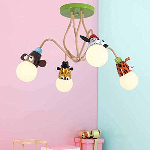 Lámpara de techo de la sala de niños LED E27 Vintage Hierro Moderno Boys Girls Dormitorio Dormitorio Historieta Dibujos animados Animal Diseño Luz de techo, luz cálida, 3 cabezas B