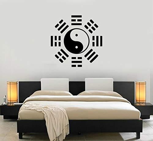 HFWYF Oriental Filosofía China Pegatinas de Pared de Vinilo Wallpaper Yin Yang Taiji Tatuajes de Pared Cultura China Decoración Mural Dormitorio 57X57 CM