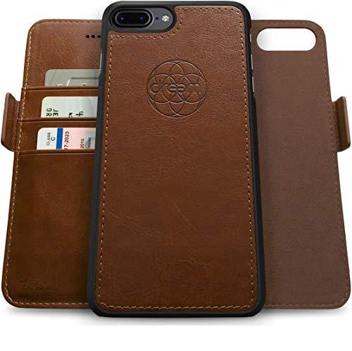 Dreem Fibonacci 2-in-1 Wallet-Case for Apple iPhone 8 Plus & 7 Plus - Luxury Vegan Leather, Magnetic Detachable Shockproof Phone Case, RFID Card Protection, 2-Way Flip Stand - Chocolate