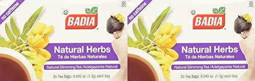 Badia - Natural Herbs Natural Slimming Tea Caffeine-Free - 25 Tea Bags Pack of 2