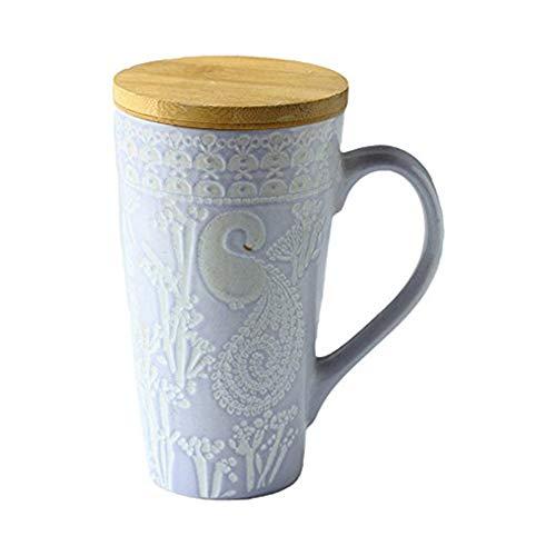 ufengke® Ländlich Handmalerei Erleichterung Keramik Becher Milchschale Tee Tasse Mit Deckel 480ml, Lila
