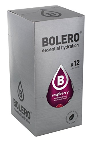 Bolero Bebida Instantánea sin Azúcar, Sabor Frambuesa - Paquete de 12 x 9 gr - Total: 108 gr