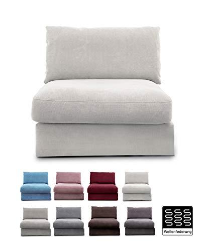 """CAVADORE Sofa-Modul \""""Fiona\"""" Sitzelement mit Rücken / XXL- Sessel mit Rückenlehne / 94 x 90 x 112 / Webstoff beige"""