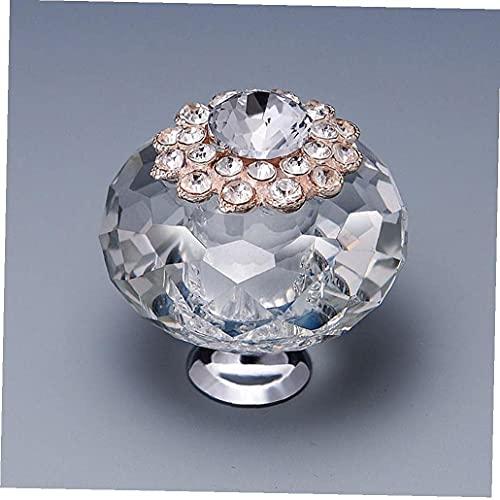 Pomos de 40 mm con forma redonda y diamante transparente, de aleación de cristal, para armario, cajón, armario, armario, cómoda, tirador para muebles, duradero, útil y práctico, diseño atractivo