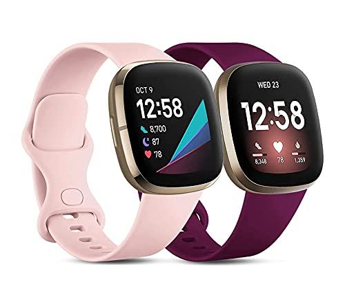KAISENSHUO Correa Compatible con Fitbit Versa 3 / Fitbit Sense, Suave Deportiva de Repuesto Correa Deportiva Pulsera Repuesto Compatibles con Fitbit Versa 3 / Fitbit Sense para Mujeres Hombres