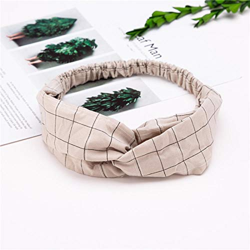 Turbantes para Mujer Diademas Diademas De Mujer A Cuadros De Estilo De Moda-Caqui