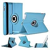 World Biz - Custodia a portafoglio antiurto in pelle PU, con funzione di supporto pieghevole (Apple iPad 2/3/4, colore: Azzurro