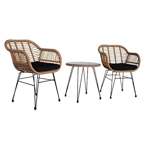 DRKFOP sillas de jardín conjunto de 2 muebles de jardín de ratán conjuntos de muebles de jardín sillas de balcón jardín mesa de centro de ratán taburete amarillo