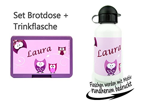 Set persönliche Brotdose BPA-Frei + Trinkflasche aus Aluminium 500 ml | personalisierbar mit Wunsch - Namen | verschiedene Lunchbox Farbe | perfekt für Schule und Kinder Garten | Eule rosa Mädchen