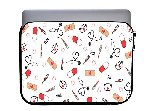 Cute Medical Stethoscope and Bandaids 13x10 inch Neoprene Zippered Laptop Sleeve Bag by Sorem Designs for MacBook or Any Other Laptop