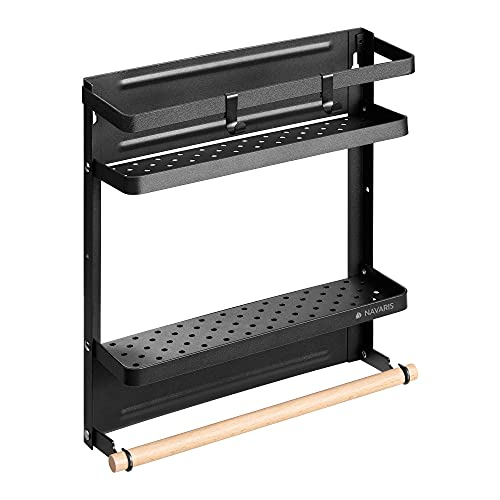 Navaris Kühlschrank Regal magnetisch - Hängeregal Gewürzregal Organizer - Küchenregal aus Metall - Ablage mit Küchenrollenhalter - in Schwarz