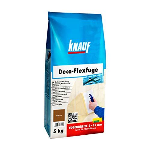 Knauf Deco-Flexfuge – Wand Fliesen-Mörtel auf Zement-Basis: pflegeleicht dank Knauf Perleffekt, schnell-härtend, passend zur Fliesenfarbe, Hellbraun, 5-kg