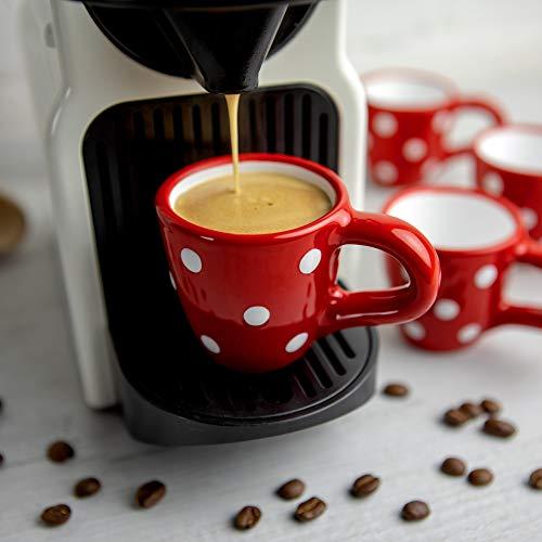 City to Cottage® - Espressotassen Set | Rot und Weiß | Polka Dots | Handgemacht | Keramik Geschirr Espressotassen 4er Set | Mokkatassen Set