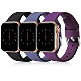 Wepro 3 Pack Correas Compatible con Apple Watch Correa 38mm 42mm 40mm 44mm, Correa de Silicona Suave de Repuesto Compatible con iWatch Series 6, 5 4 3 2 1, SE, 38mm/40mm-S/M, Negro/Azul Gris/Ciruela