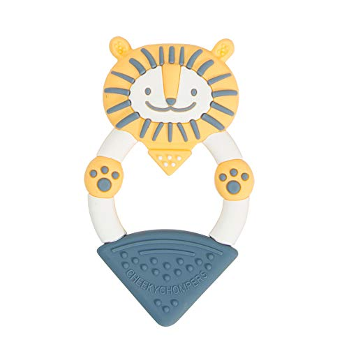 Cheeky Chompers Animal Teethers - Teething Toys for Babies - Adorable Teething Rings with Integrated Gel Applicator and Soft Silicone Design – Fun, Friendly and 100% Safe - Bertie The Lion