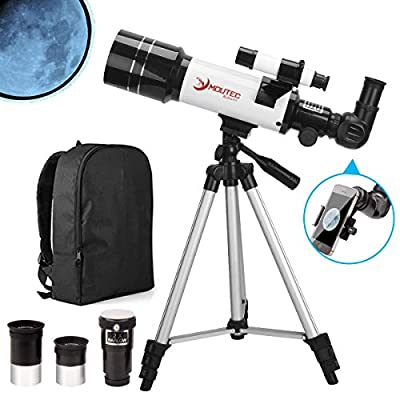 MOUTEC Telescope for Kids and Astronomy Beginners, 70mm Travel Scope for Moon Observation Stargazing and Outdoor Adventures - Comes with Smartphone Adapter and Backpack