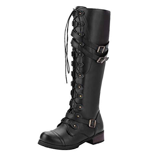 VECDY Damen Schuhe,Räumungsverkauf- Herbst Frauen Steampunk Gothic Vintage Style Retro Punk Schnalle Militär Kampfstiefel Elegante Lange Damen Stiefel Stiefel warme Schuhe (Schwarz, 37)