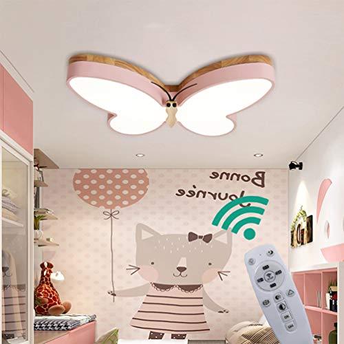 LED Deckenlampe Dimmbar Kinder Kinderzimmer Schlafzimmer Lampen Holz Schmetterling Deckenleuchte 30w, Metall Acryl-schirm Kronleuchter Esszimmer Bad Küche Decken Leuchten Fernbedienung L50*W32*H6cm