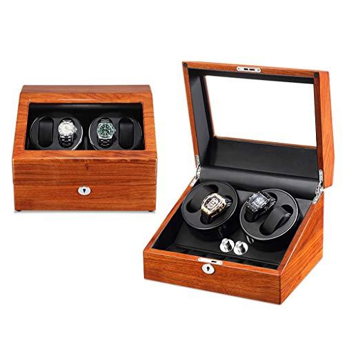 LJP Enrollador de reloj para relojes automáticos, caja de bobinado automática de madera maciza con pintura de piano