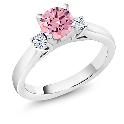 Gem Stone King 925 Sterling Silver Pink Zirconia and White Created Sapphire 3-Stone Women Engagement Ring 1.76 Cttw (Size 7)