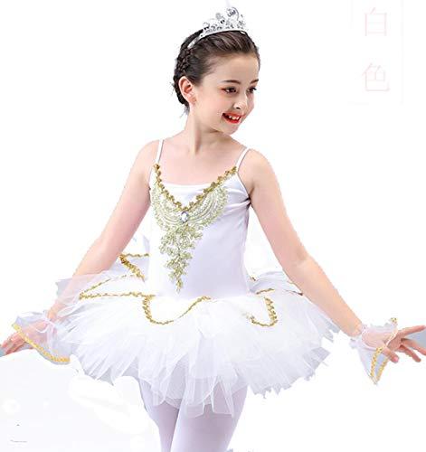 ZYLL Kinderballettröckchen-Tanz-Kleid Kostüme Schwanensee Ballett-Kostüme Kind-Mädchen-Bühne Wear Standardtanz-Kleid Outfits,Weiß,110CM