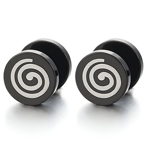 Negro Círculo Geométrico Espiral Pendientes de Hombres Mujer, Acero Enchufe Falso Fake Cheater Plugs Gauges