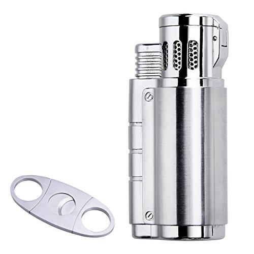 Cigar Cutter and Lighter Set - Triple Jet Flame Butane Cigarette Torch Lighter with Cigar Punch Cutter (Best Way To Light Cigar)