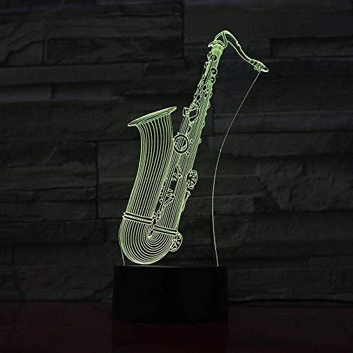 3D llevó la luz de la noche de la ilusión luz multicolor Saxo lámpara de mesa niños niños niños bebé regalos instrumento musical atmósfera USB