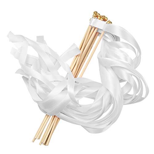 NUOBESTY Weiße Schleifenschlangen mit Glöckchen aus Seide, winkende Partyschlangen für Hochzeit, beste Wünsche, Kindergeburtstag, Requisiten, Tanz-Party, Gastgeschenke, 10 Stück