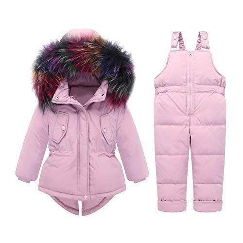 LSHEL Baby Mädchen Junge Winter Schneeanzug Daunenjacke Stepphose Winterjacke Mit Kapuze Down Jacket 2tlg Bekleidungsset Verdickte Winterjacke Rosa 104/110
