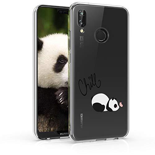 kwmobile Funda Compatible con Huawei P20 Lite - Carcasa de TPU y del Panda y la Mariposa en Negro/Blanco/Transparente