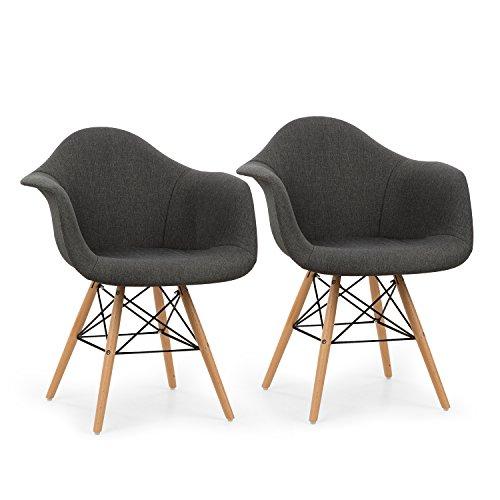 OneConcept Visconti - Schalenstuhl, Retrostuhl, Esszimmerstuhl, 70er-Jahre-Look, Retro-Design, 2-er Stuhl-Set, breite, Bequeme Sitzfläche, gepolsterte PP-Schale, grau