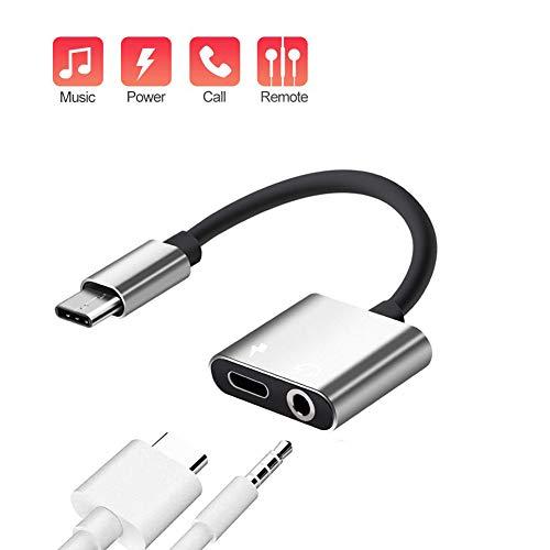 YFOX Adaptador de Auriculares Tipo C Adaptador 2 en 1 Conector de Auriculares de 3,5 mm y Adaptador de Carga para Huawei P30/P20/Mate 10, Xiaomi 9/8/6/MIX 2(Plateado)