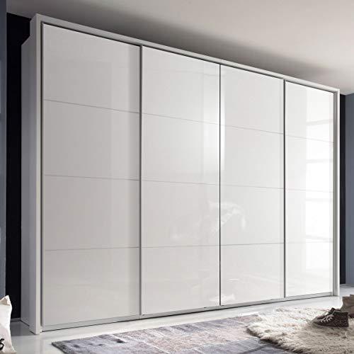 Möbel Akut Kleiderschrank 410 cm Schwebetürenschrank Sky 4 Hochglanz weiß 4-türig