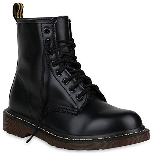 Stiefelparadies Unisex Damen Herren Stiefeletten Worker Boots Profilsohle Flandell, Schwarz Brito,...