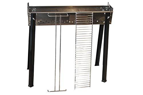 griglia elettrica ferraboli Ferraboli Cuocispiedini Inox 65×14 cm Barbecue Carrello Antracite Acciaio Inossidabile