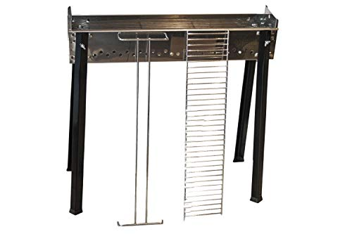 Ferraboli cuocispiedini Inox 65× 14cm Grill Cart Charcoal Stainless Steel–Barbecues & Grills (Grill, Charcoal, Cart, Grate, Stainless Steel, Rectangular)