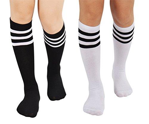 EDOTON 2 Paare Damen Streifen Rohr Socken Casual Kniestrümpfe Elastischen Oberschenkel Stocking