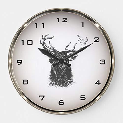 onepicebest Reloj de pared de 38 cm, diseño de reno de Navidad retro, reloj de pared redondo para sala de estar, reloj de decoración del hogar