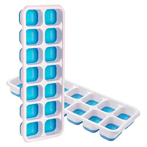 TOPELEK 14-Fach Eiswürfelform 4er Pack Silikon Eiswuerfel Mit Deckel Ice Tray Ice Cube, Kühl Aufbewahren, LFGB Zertifiziert, Blau (2er Pack)