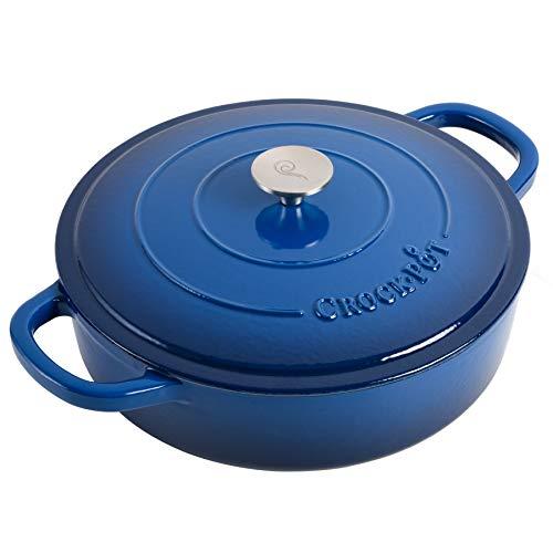Crock Pot Artisan Enameled Cast Iron Braiser W/Lid, 5 Quart, Sapphire Blue