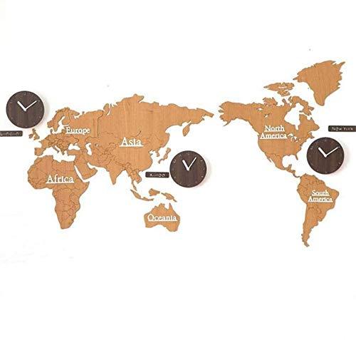 GANG Creative Diy Pegatina Mapa Del Mundo Reloj de Pared Personalidad 3D Mapa Del Mundo de Madera con 3 Países Relojes Silencio No Ticking Reloj de Movimiento de Cuarzo para la Decoración de