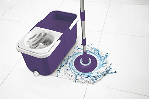 Big Boss Insta Mop The Spinning Action Mop in Spring Cleaning Colors and Added Bonus Mop Head, Purple Instamop